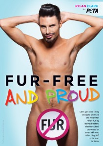 Rylan Clark shows off his 'XY-Factor' in his PETA anti-fur advert