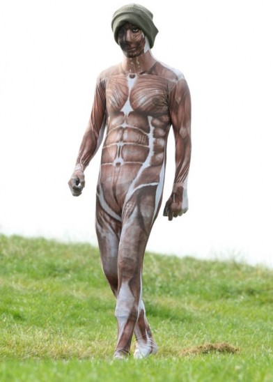 Harry Styles wearing his morphsuit in North London last year (Credit: Mark Suddaby)