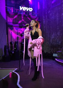 NEW YORK, NY - MAY 18: (Exclusive Coverage) Ariana Grande performs at Vevo Presents at The Angel Orensanz Foundation on May 18, 2016 in New York City. (Photo by Kevin Mazur/Getty Images for Vevo) *** Local Caption *** Ariana Grande