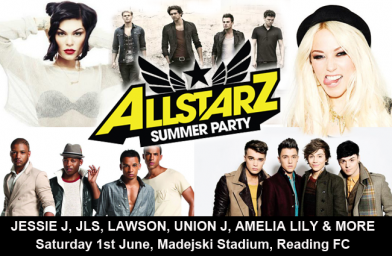 Win 3 tickets to see Jessie J, JLS, Lawson and Union J at the AllStarz Summer Party